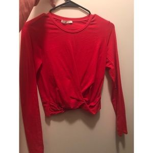 Red Long Sleeve Knotted Crop Top